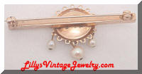 Vintage MARINO Golden faux Pearls RS Bar Pin