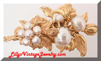 Vintage Miriam HASKELL Golden Faux Pearls Floral Brooch