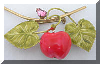 Original By ROBERT Enamel Apple Fruit Brooch