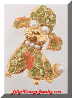 Vintage Golden Peridot Coral Pearls Puppy Brooch