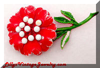 Vintage Red Enamel White Rhinestones Flower Brooch