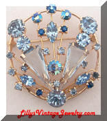 Regency Blue Rhinestones Spray Brooch