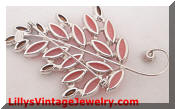 Royal Leaf Rhinestones pink cabs brooch