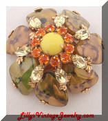 Schreiner green yellow domed vintage brooch