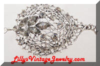 Silver Open Filigree Gray Rhinestones Leaf Brooch