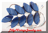 Vintage STAR Navy Blue Plastic Leaves Inserts Brooch
