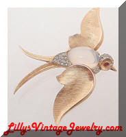 Vintage TRIFARI Fantasy Bird in Flight Moonstone Brooch