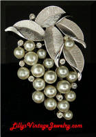 Vintage TRIFARI faux Pearls Rhinestones Grapes Brooch