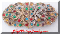 Multi Colors Rhinestones Duette Dress Clips Brooch marked USA Starred S