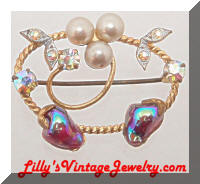 Vintage W. GERMANY Art Glass Pearls Rhinestones Pin