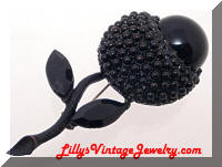 Vintage WEISS Japanned Black Flower Brooch