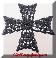 Vintage WEISS Black Rhinestones Japanned Maltese Cross Brooch