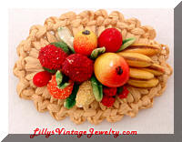 Vintage Western GERMANY Fruit Salad Basket Brooch