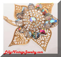 Vintage Golden Leaf Rhinestones Crystals Brooch