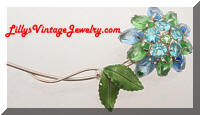 Vintage Green Blue Rhinestones Flower Brooch