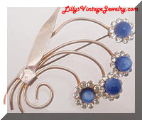 Vintage Retro Blue Moonstones Rhinestones Flowers Brooch