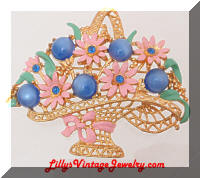 Vintage Large Golden Blue Moonstone Rhinestones Floral Basket Brooch