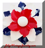 Vintage Red White Blue Enamel Flower Brooch