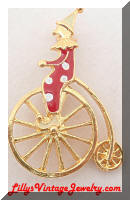 Gold tone Bike Riding Enamel Clown Brooch