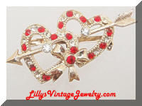 Vintage Golden Double Hearts Red Rhinestones Brooch