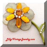 Unique Vintage Rhinestones Flower Brooch