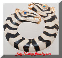 Vintage Double Head Enamel Zebras Circle Brooch