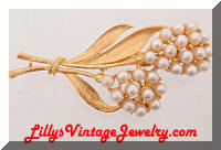 Vintage Pearls Golden Floral Brooch