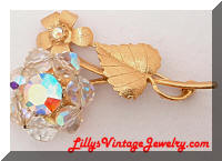 Vintage Quality AB Crystals Beads Floral Brooch