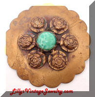 Vintage Flower Shield Brooch
