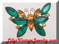 Vintage Green Orange Rhinestones Butterfly Brooch
