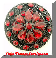 Vintage Japanned Black Red Rhinestones Glitz Brooch