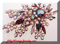 Large Vintage AB Pink Red Rhinestones Spray Brooch
