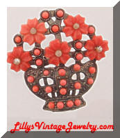 Vintage faux Pearls Coral Plastic Floral Basket Pin