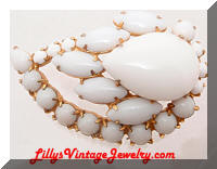Vintage Milk Glass White Rhinestones Comma Brooch