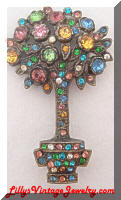 Vintage Multi Colored Rhinestones Potted Tree Brooch