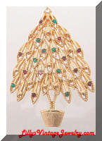 Vintage Golden Rhinestones Christmas Tree Brooch
