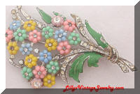 Vintage Pastel Flower Bouquet Brooch