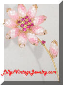 pink art glass giver flower vintage brooch