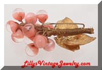 Vintage Golden Leaves Pink Glass Beads Brooch