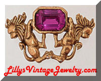 Fun Royal Purple Rhinestone Lions Brooch