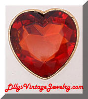 Large Red Rhinestone Heart Coat Brooch