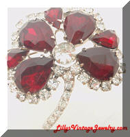 Vintage Red Clear Rhinestones Clover Brooch
