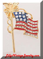 Patriotic Flag Eagle Lapel Pin