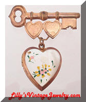 Vintage Golden Key Heart Locket MOP Sweetheart Brooch
