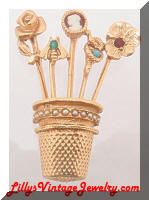Vintage Golden Thimble Stick Pins Brooch