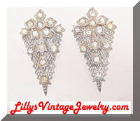 Vintage Art Deco Rhinestones Dress Clips Pair