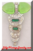 Billard Art Deco Green Rhinestones Dress Clip