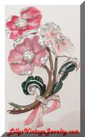 Vintage DEJA Original Pink Enamel Rhinestones Flowers Fur Clip Pin :  floral deja leaves enamel