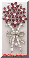 vintage flowers red rhinestones fur dress clip
