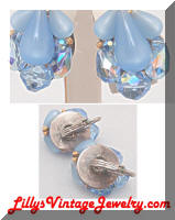 Blue crystals beads vintage earrings